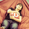 A team member takes a nap in the upstairs hammock while cuddling a Pinterest pillow...