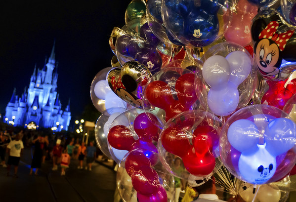 Photo by Trey Ratcliff (stuckincustoms.com) of balloons in front of Cinderella Castle in Walt Disney World