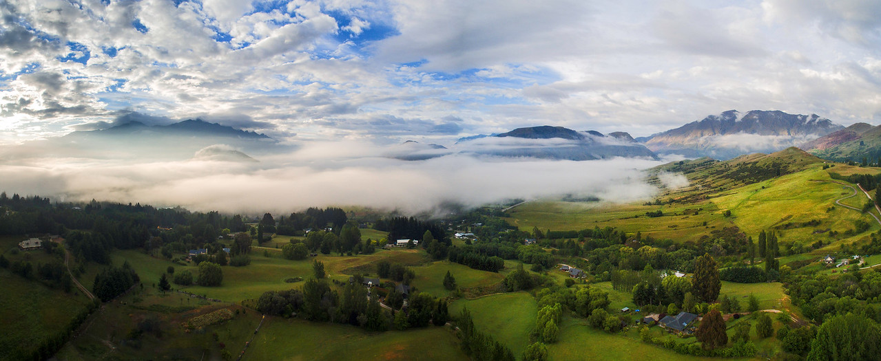 Morning Fog and Clouds over Queenstown, New Zealand