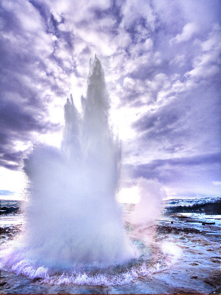"<h2>The Icy Explosion</h2> <br/>This is Strokkur, the biggest geyser in Iceland and the second biggest in the world. It can shoot twice as high as Old Faithful in the states, and it blasted off about every 5-6 mins or so... which seems like a VERY long time while standing around in the wintery mix of the frozen tundra.  It was already fairly cold there, but all the moisture in the air made it a ""wet cold"", which is a whole  new level of cold.<br/><br/>- Trey Ratcliff<br/><br/><a href=""http://www.stuckincustoms.com/2007/02/12/the-icy-explosion/"" rel=""nofollow"">Click here to read the rest of this post at the Stuck in Customs blog.</a>"