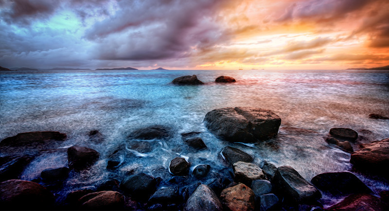 "<h2>Sunset in Virgin Gorda</h2> <br/>I'm having a great time in Virgin Gorda! I took this a few nights ago while waiting on the Supermoon! I was here on the rocky coast (Savannah Beach) all alone when I took this photo, and I had an idea for a photo plus processing… it turned out to be much more painstaking than I originally thought, but I learned a few things along the way… the light and the motion of the water was so… intoxicating… that I wanted to bring it back to life here for you all…<br/><br/>- Trey Ratcliff<br/><br/><a href=""http://www.stuckincustoms.com/2012/05/07/sunset-in-virgin-gorda/"" rel=""nofollow"">Click here to read the rest of this post at the Stuck in Customs blog.</a>"