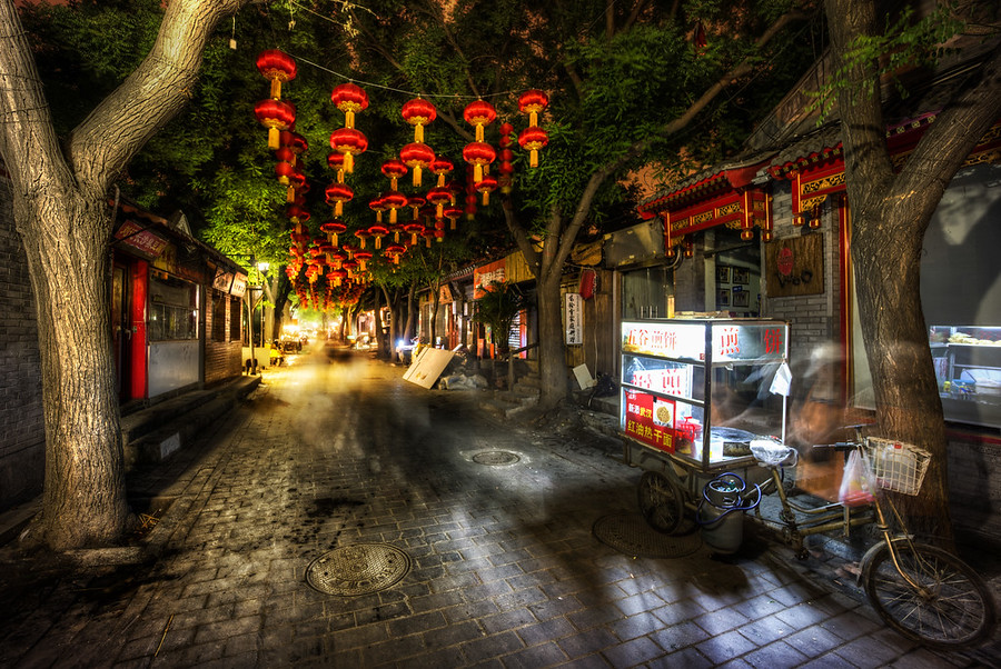 Dark Street with Lanterns in China