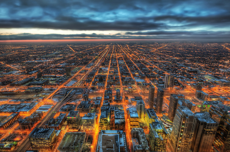 "<h2>Chicago Forever</h2> I took this from on top of one of the highest buildings in Chicago.  Everyone else was shooting in the other direction - towards all the big buildings.  Well, I did too to be honest... but, then I came over here... looking out this way was strangely compelling, so I decided to give it a go! :)  - Trey Ratcliff  Read more <a href=""http://www.stuckincustoms.com/2011/11/26/chicago-forever/"">here</a> at the Stuck in Customs blog."