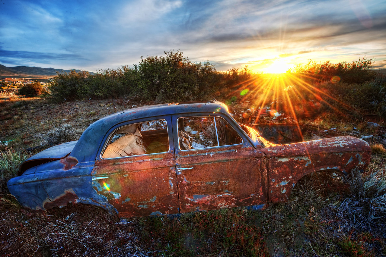 Old Car in Argentina On one of the final nights in Argentina, I went out to an older area near the town which had recently been flooded.  There were many abandoned cars, homes, and other lost things falling apart here and there.  It made for a fun series of short hiked from one little abandoned thing to the next.  - Trey Ratcliff  Read more here at the Stuck in Customs blog.