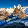 "<h2>The Two Glacial Lakes of the Southern Andes</h2> <br/>This was a hard spot to reach!<br/><br/>It was quite a hike to get up here early in the morning, just as the sky was still in a dawn of deep blue.  The two lakes on either side are those pure glacial blue lakes that you sometimes see from airplanes and wonder, ""What's it like to be down there?""  I'll tell ya - AWESOME!  I went down there and drank from the lakes like a guanaco on holiday.  It was incredible.<br/><br/>- Trey Ratcliff<br/><br/><a href=""http://www.stuckincustoms.com/2009/10/29/the-two-glacial-lakes-of-the-southern-andes/"" rel=""nofollow"">Click here to read the rest of this post at the Stuck in Customs blog.</a>"