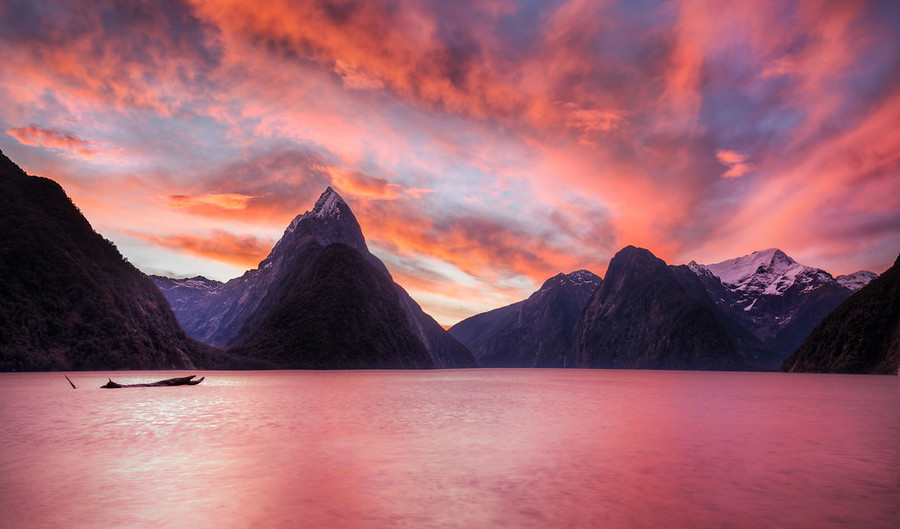 Sunset in Milford Sound    I slept in my sleeping bag under the stars this night. It was very peaceful after seeing the pink milky sound under Mitre Peak.I took this right before I left New Zealand down in Milford Sound. I was in a bit of a hurry (you know how things get rushed before a trip), and I left the house without my tent. All I had was a sleeping bag, but it's a good one.I slept under some trees that were tall and seemed to be leaning inwards while I looked up. Not long after that, I fell asleep…- Trey RatcliffClick here to read the entire post at the Stuck in Customs blog.