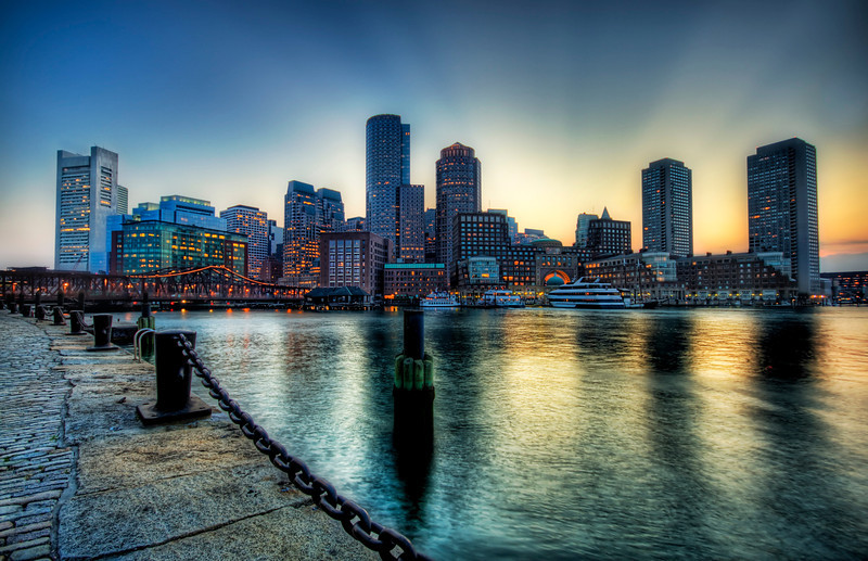 "<h2>Boston at Sunset</h2> Boston is great and I am sad I've only spent a short amount of time there. On this evening, I walked along the waterfront here to look at all the various angles and light levels. They were all good! That's a sign of a good city when it is hard to take a bad photo of it!  - Trey Ratcliff  Read more <a href=""http://www.stuckincustoms.com/2011/10/06/boston-at-sunset/"">here</a> at the Stuck in Customs blog."