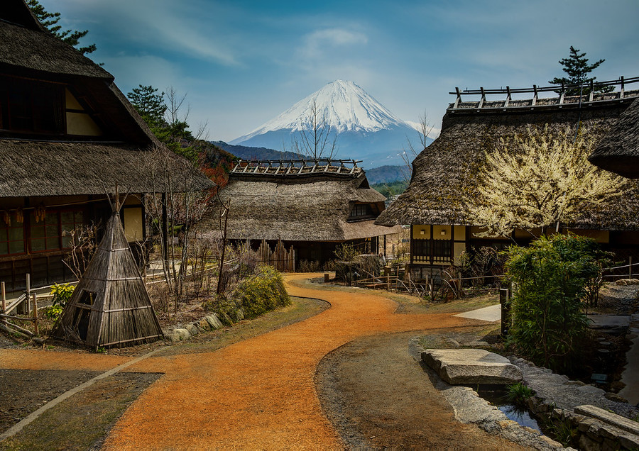 Approaching Mount Fuji from the Old Village Saiko