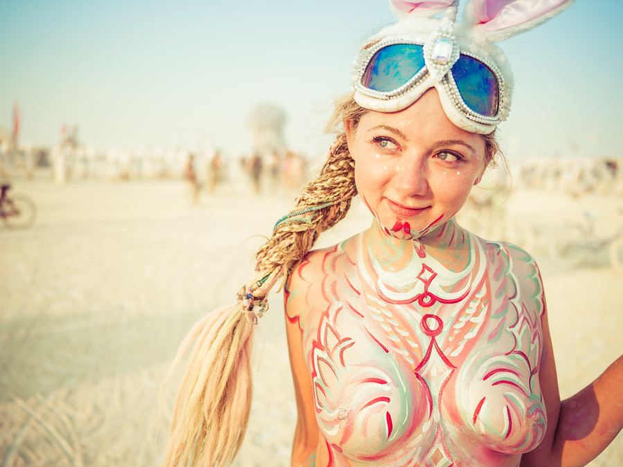 Festival women burning man naked