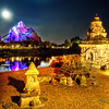 """<h2>Moonlight over Everest</h2> <br/>If there is one thing that is almost as cool as being deep in the Himalayas, then it's being at Disneyland after dark near the Expedition Everest ride.  This is probably one of my favorite rollercoasters, and I endeavored to stay here late one night to try to grab the moon in the right spot.  The whole area is riddled with excellent little Buddhist offering temples, where you can submit fruits of offering in exchange for the blessing of not tossing your lunch right before the Yeti takes a swipe at your runaway train.<br/><br/>- Trey Ratcliff<br/><br/><a href=""""http://www.stuckincustoms.com/2009/06/10/moonlight-over-everest/"""" rel=""""nofollow"""">Click here to read the rest of this post at the Stuck in Customs blog.</a>"""