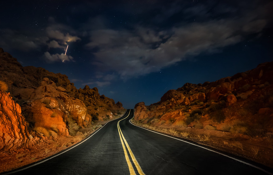 Driving through the Valley of Fire at Night