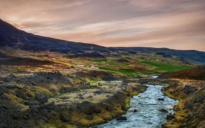 """<h2>Soft Sunset over the Gentle Stream</h2> <br/>Every time I visit this little stream in the northern part of Iceland, it seems exactly the same. It makes me wonder if it ever gets high or low or just flows perfectly all the time.<br/><br/>If it does flow perfectly like this all the time, I'd be tempted to build a house right over it! Wouldn't it be cool to have a perfect stream just flow right through your home?<br/><br/>- Trey Ratcliff<br/><br/><a href=""""http://www.stuckincustoms.com/2012/07/15/soft-sunset-over-the-gentle-stream/"""" rel=""""nofollow"""">Click here to read the rest of this post at the Stuck in Customs blog.</a>"""