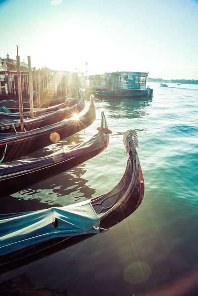 Gondolas Lined Up at the End of the Day
