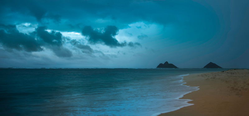 """<h2>The Impending Storm</h2> And about three minutes later, I was drenched.<br/><br/>I barely got this photo in time.  I could see the storm coming across the beach towards us.  About 60 seconds after I took this photo, you couldn't even see the islands.  The worst part wasn't getting soaked -- it was having to run back to the car in the torrential downfall with all my equipment.  I wasn't a happy camper at the end... but I felt good because I was pretty sure I got a good shot...<br/><br/>- Trey Ratcliff<br/><br/><a href=""""http://www.stuckincustoms.com/2012/04/14/the-impending-storm/"""" rel=""""nofollow"""">Click here to read the rest of the post at the Stuck in Customs blog.</a>"""