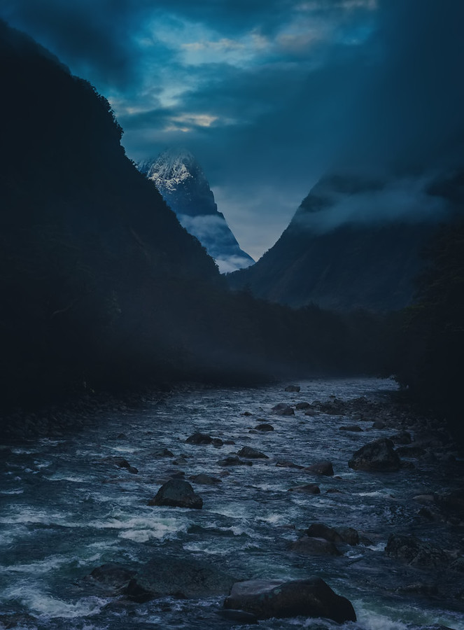Milford Sound Road New Zealand Driving River Mountain