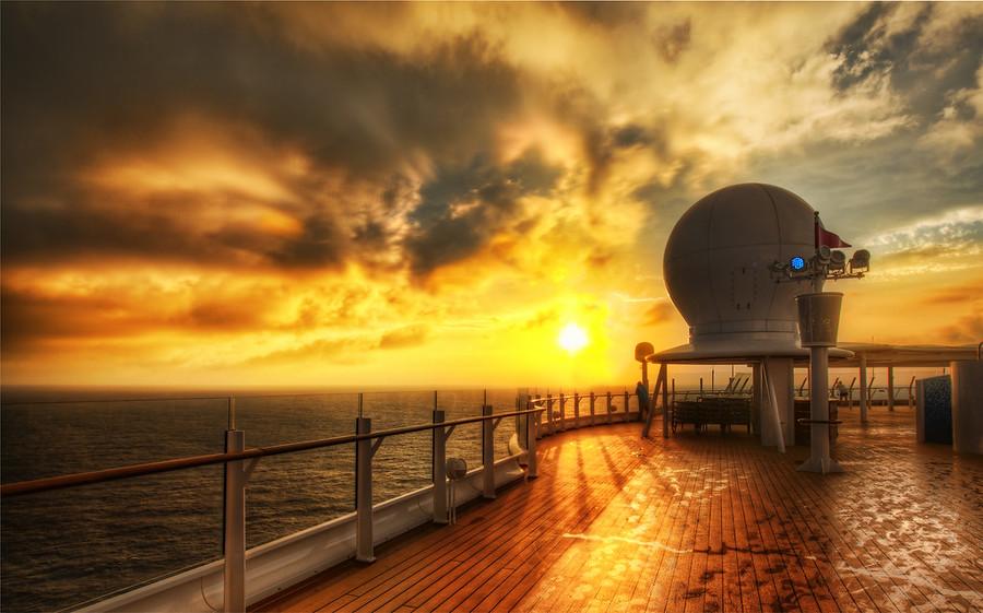 Morning on the wet decks Disney Cruise