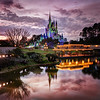 Beautiful Cinderella's Castle at Sunset
