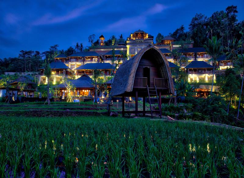 Rice Paddies At Night At The Mandapa Reserve At The Ritz-Carlton In Bali