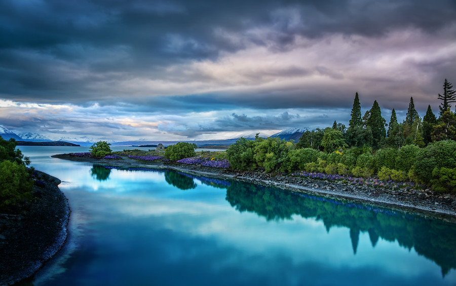 Evening on the blue Lake Tekapo New Zealand