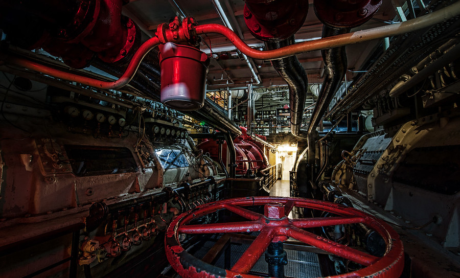 Deep inside the Haunted Engine Room Right after the LA PhotoWalk, I decided to do something that may or may not have been illegal.  There is a haunted ship docked off the coast of Long Beach that has been partially converted to a hotel – the Queen Mary.  There is a little tour that takes you around haunted bits here and there.  Tom and I left the tour to start exploring on our own….  we found all sorts of amazing and creepy, abandoned places… this is one of them.- Trey RatcliffClick here to read the rest of this post at the Stuck in Customs blog.